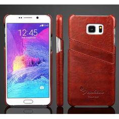 Oil Wax Grain PU Leather Case Card Holder Back Cover For Samsung Galaxy Note 5 - Brown