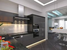 With modern appliances tucked into the sleek, mostly hardware-less cabinetry, the entire kitchen is a work of minimalist art. Subtle lighting comes courtesy of recessed strips below cupboards.