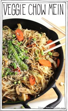 Healthy and vegan, Veggie Chow Mein! Adding a monster amount of cabbage to this recipe is a sneaky deaky trick, because it's not only delicious, but it blends right into the noodles, meaning you are getting more nutritional bang for your noodle buck. Yes, bring on the veggies! This is one chow mein recipe that is GOOD for you. #itdoesnttastelikechicken