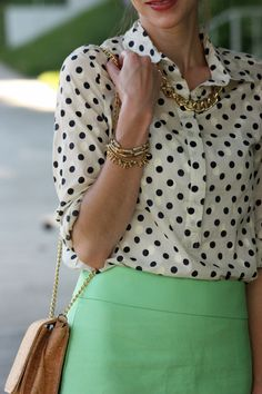 Polka dot & Mint - love the gold chain outside the shirt