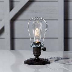 Industrial Desk Light  Wire Cage Table Lamp  Vintage by IndLights, $89.00