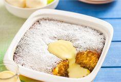 Perfectly golden pudding made with rich syrup served with custard or ice cream. Yummy!
