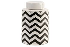 "9"" Chevron Canister, Black/White"