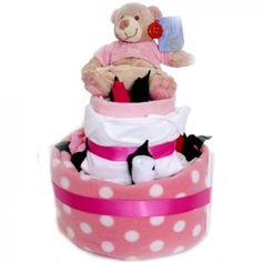 Standard Baby Girl Nappy Cake to Ireland - http://www.247babygifts.net/standard-baby-girl-nappy-cake-to-ireland/