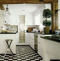 I like black and white floors they give some edge into the room