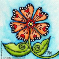 Happy Doodle Flower Friday!!! #watercolor #tombows #doodleart #doodleflower #doodleflowerfriday #debipaynedesigns