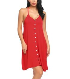 Kaured Sexy Button Front Nightgown Women Sleeveless Nightwear Female Lounge  Wear Red S  gt  gt 644a7fd72
