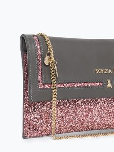 Patrizia pepe Glitter Clutch Bag In Leather in Pink (Rosy) | Lyst