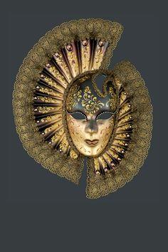 Geminus a Ventaglio: maschera artigianale veneziana prodotta a mano a venezia dai maestri dell'isola secondo il carnevale veneziano