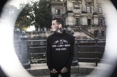 ELEVENCULT - LIFE LOVE DEATH 2016 WINTER COLLECTION - LLD HOODY -  Location Shoot Berlin Germany - Classic Tattoo / Tatted Model / Traditional Tattoos / Apparel / Urban Street Photography / Marcel Birkenhauer - 11.11.11. Threeeleven Cult Clothing