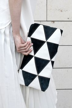 Contrast Triangles Pouch