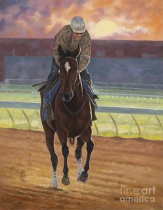 Racehorse Art Print featuring the painting Dawning by Linda Shantz