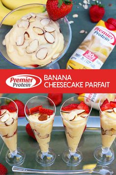 Try a tasty Banana Cheesecake Parfait! Delicious and packed full of protein, low in carbs and with only 1 gram of sugar! Protein Desserts, Protein Smoothies, Protein Snacks, Protein Cheesecake, Banana Cheesecake, Ww Desserts, Protein Shake Recipes, Cheesecake Bites, Cheesecake Recipes