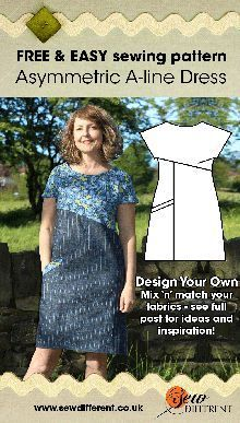 Asymmetric A-line Dress - Free Sewing Pattern - Design Your Own - Sew Different