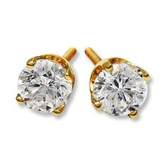 Diamond Earrings 1 2 Ct Tw Round Cut 14k Yellow Gold Solitaire Earringskay Jewelersholiday