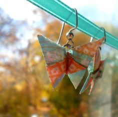 Origami Butterfly Earrings Blue and Orange di littlepaperwing