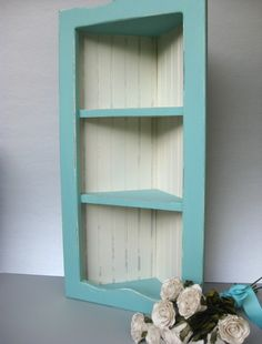 Coastal Blue Shabby Corner Shelf Vintage Beadboard Distressed