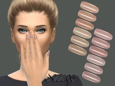 Nails: pastel pearl nails collection by natalis from the sims resource &amp Sims 4 Tsr, Sims Cc, Sims 4 Nails, Cc Nails, Sims 3 Makeup, Sims 4 Piercings, The Sims 4 Cabelos, 4 Tattoo, Pearl Nails