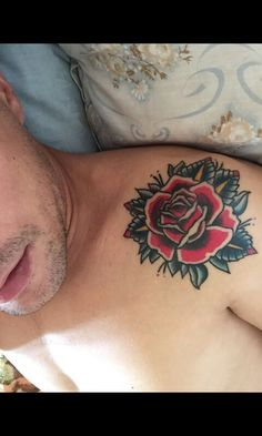 Traditional rose tattoo healed