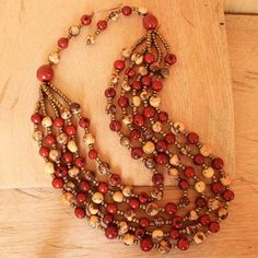 Red and Natural Acai Beaded Necklace