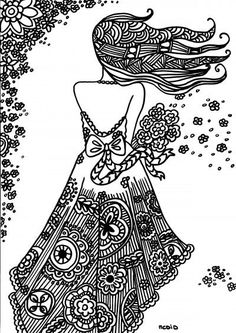 Bride Coloring Page For Adults