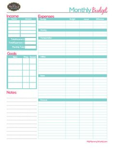 Free Printable Monthly Budget Form