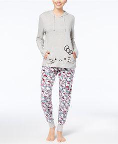 Hello Kitty Bow Kitty Hooded Top   Pants Pajama Set Christmas Stocking  Stuffers 863be2915