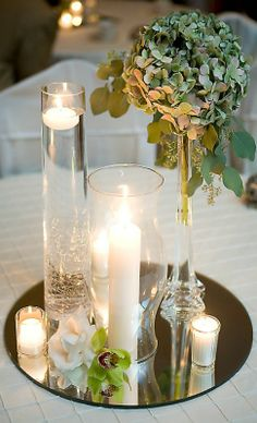 Simple and elegant mirrored centerpiece...mix and match with hydrangeas and lilies