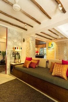 Living Room Interior Design India ethnic-indian-living-room-interiors | indian color | pinterest