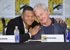 Victor Garber and Franz Drameh at an event for Legends of Tomorrow (2016)