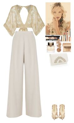 """""""Outfit"""" by eliza-redkina ❤ liked on Polyvore featuring Nicole Coste, Sergio Rossi, Bobbi Brown Cosmetics, Clarins, Charlotte Tilbury, Burberry, In Your Dreams, outfit, gold and like"""
