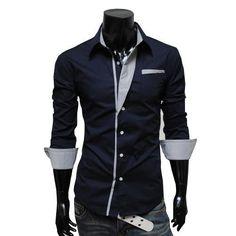 Camisetas para hombre de la moda coreana racha delgado camisas de ...