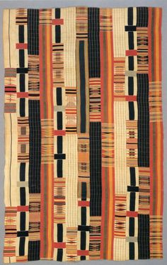 "Nineteenth century kente from the Smithsonian Lamb collection. Note the irregular strip layout and the threefold pattern blocks. Scanned from P. Gilfoy ""Patterns of Life"" (1987)."