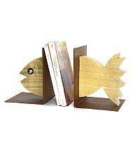 Fermalibri 'Pesce': lamiera e legni policromi. By Centro del Mutamento