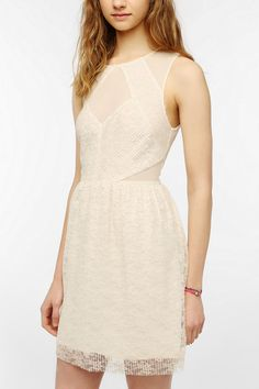 Pins And Needles Lace Mesh Inset Dress  #UrbanOutfitters