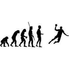 Evolution Handballer - Die Evolution des Menschheit in Bilder bis hin zum Handballer beim Sprungwurf.