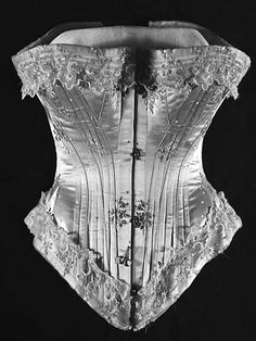 Satin, Lace, Whalebone Corset (circa 1876) - Have to wonder how they were able to breath wearing this?