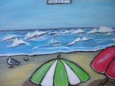 Original Acrylic mixed media Painting on Canvas 18 x 24 beach umbrellas