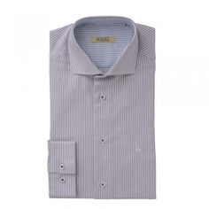A timeless Oxford cotton purple and white striped shirt. The Jasper is a tailored fitting shirt. Features include, cut-away collar, a contrasting inside-collar - blue and white, adjustable single cuff and wolfhound embroidery. Wolfhound, White Cotton, Jasper, Tweed, Knitwear, Oxford, Menswear, Blue And White, Shirt Dress