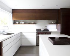 Grey, White And Timber Kitchen