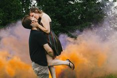 Smoke bomb engagement session by Frances Beatty Photography in the Beaver Vallery, Ontario.