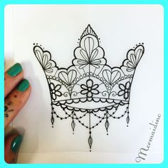 Lace crown for Sally #lace #crown #tattoodesign #tattoo #femaletattooartist #cornwall