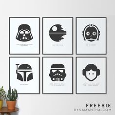 What better gift for the star wars fanatic in your life than a FREE set of Star Wars minimalist prints! Download these 6 printable files here and print at home.