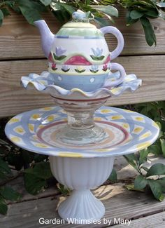 Garden Totem - Teapot Centerpiece MacKenzie Childs, a child's dream garden!