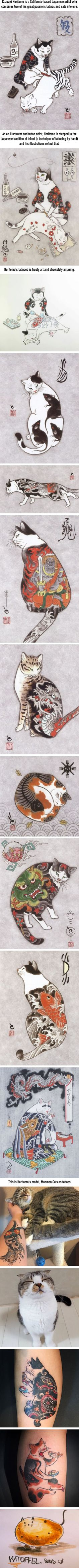 Cats Tattooing Each Other In Surreal Japanese Ink Wash Paintings by Kazuaki Horitomo