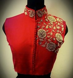 Embroidered Blouse Designs With Zardozi For Every Occasion Choli Designs, Blouse Neck Designs, Blouse Styles, Saris, Saree Blouse Patterns, Pattern Of Blouse, High Neck Blouse, Collar Blouse, Collor