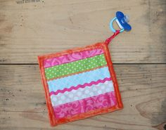 Bright Colored Pacifier Blanket Orange Pink and by JoyandJudes