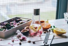 This cocktail is the perfect end-of-summer drink, and incorporates rosewater from our Turkey box for a fresh and light beverage.