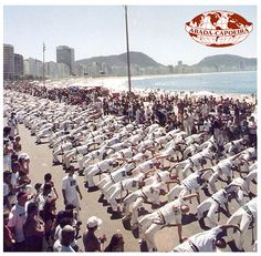 This is an outdoor class in Rio de Janeiro Brazil during the international Capoeira Festival. They are Abada - capoeira students from all over the world. www.abadacapoeira.com.au