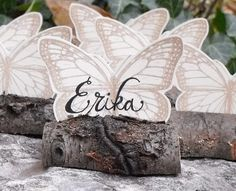 Naturally Beautiful Butterfly & Branch Eco-friendly Wedding Placecards & Favor By  Dream Green Wedding Blog Found At www.my-wedding-concierge.com